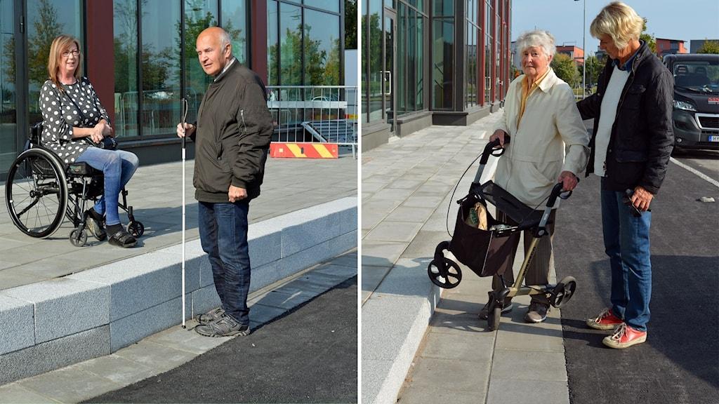 """Till vänster rullstolsburna Marie Norén Hedberg och blinde Sören Norman vid en av Tullhusets 30 cm höga """"trottoar""""-kanter. Till höger 96 åriga Kerstin Pehrsonmed dotter Inger fastnar med rollatorn på entrén 16 cm höga kant."""