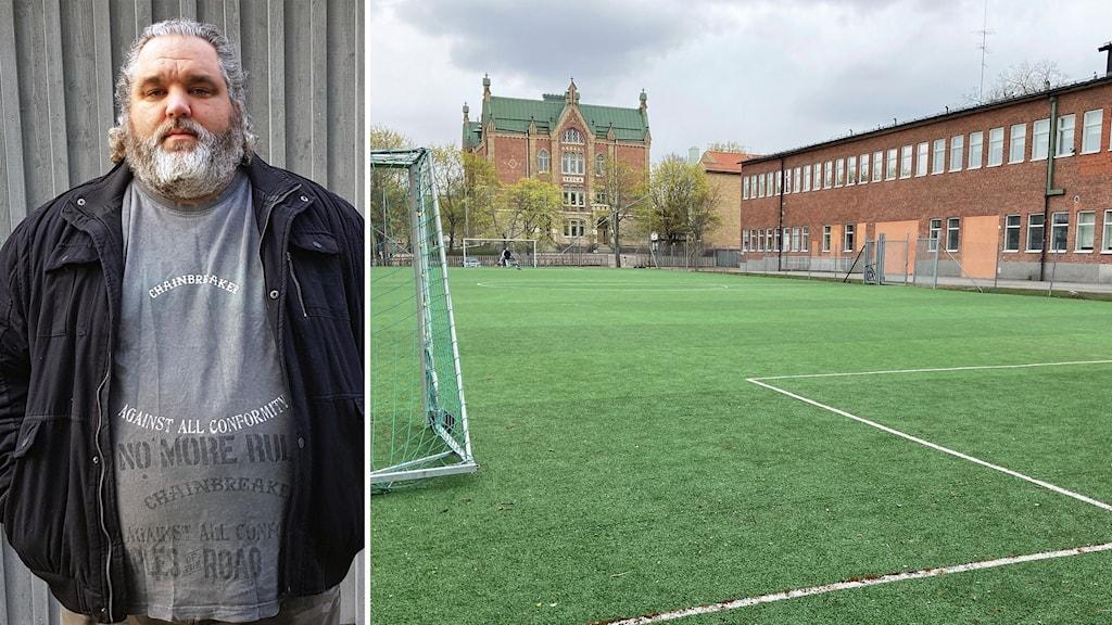 Till vänster Lars Thorsell ombud för Lärarnas Riksförbund vid Polhemsskolan i Gävle. Till höger bollplanen vid Polhemsskolan där den nya högstadieskolan ska byggas.