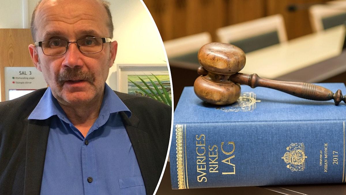 Åklagare Christer Sammens står i en blå skjorta och svart kavaj. Till höger en blå lagbok.