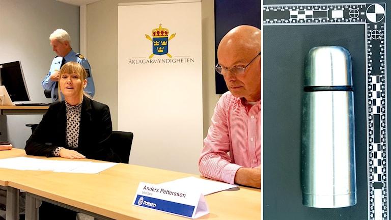 Åklagare Therese Stensson och en av de beslagtagna termosarna. En av nio likadana termosar.