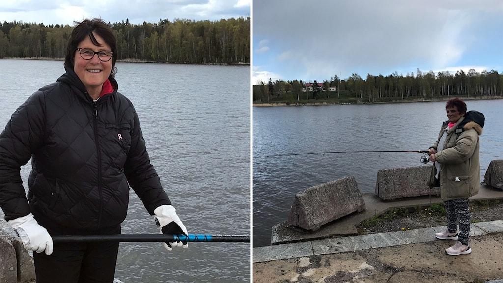 För Inger Glad (till vänster) från Rättvik och Lillan Kihlström från Rengsjö är strömmingsfiske en lyx. Fisken fryser de in.