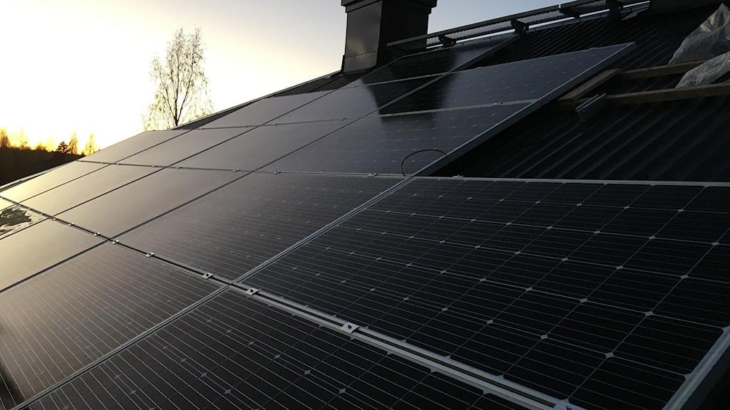 34 kvadratmeter solceller pryder taket i Österfärnebo.