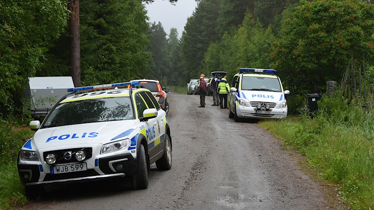 Polisbilar på en skogsväg på Blacksåsberget.