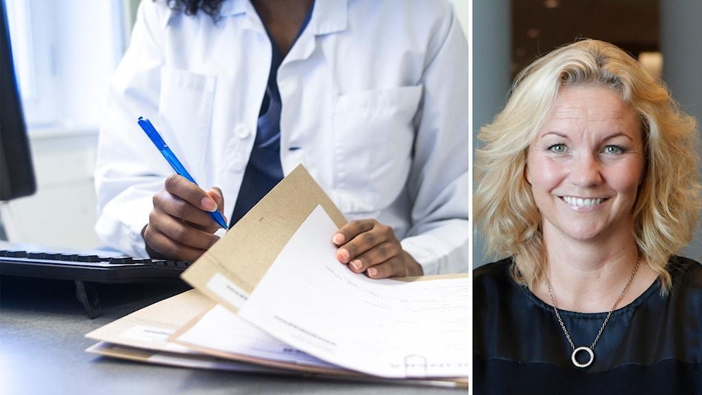 Vänster vårdpersonal, höger en kvinna.
