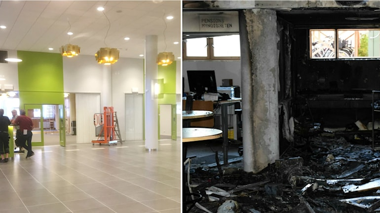 En före och efterbild på ljusdals kommunhus före och efter branden.