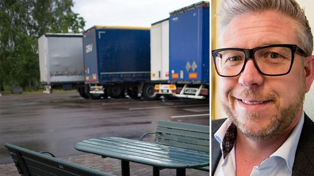 Parkerade lastbilar. En man i glasögon.