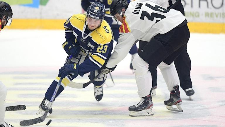 Fotot visar några hockeyspelare i SHL på isen.