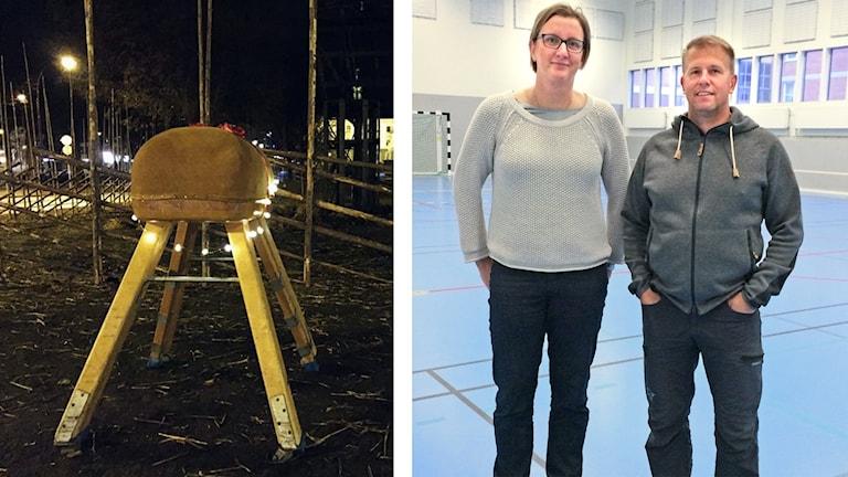 Anna Hermansson och Henrik Lagerström som va två av idrottslärarna på Polhem som ställde in gymnastikbocken i Gävlebockens fålla.