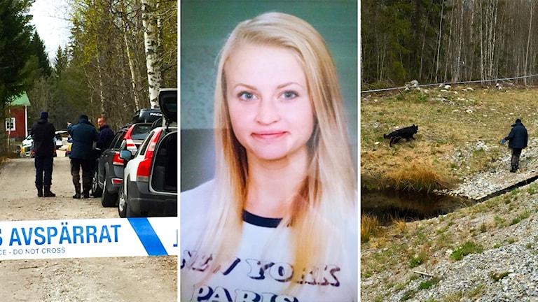 Polisbilar och avspärrningsband, ett skolfoto på Tova Moberg och en polishund som söker i en vägkant.