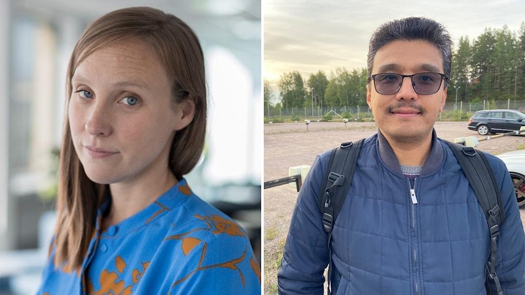 Vänster en kvinna, höger en man