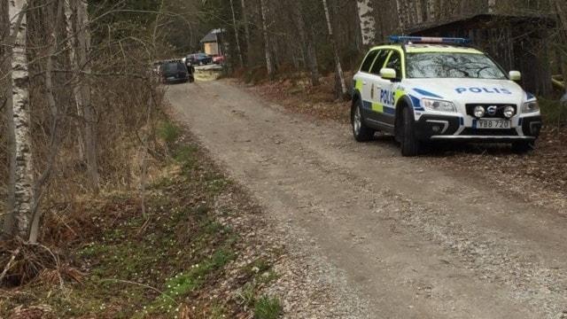 En polisbil på en skogsväg i skogen där polisen letar efter den försvunna 19-åringen