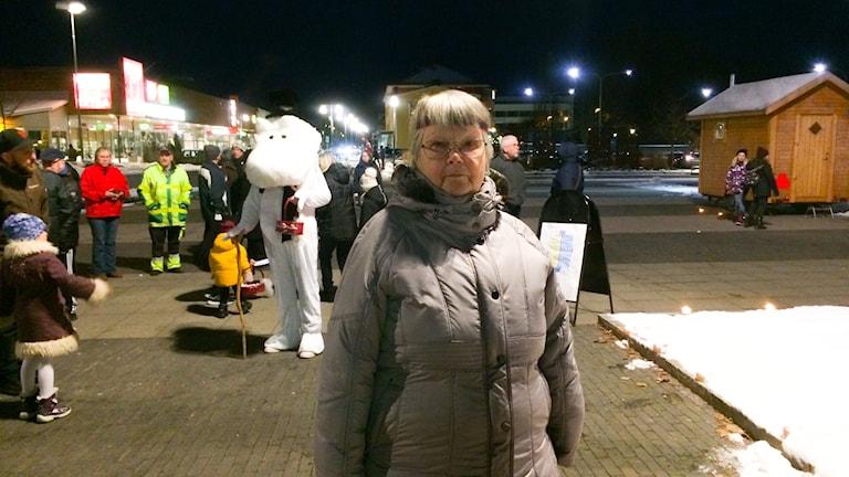 Marja Luusua på torget i Hofors.