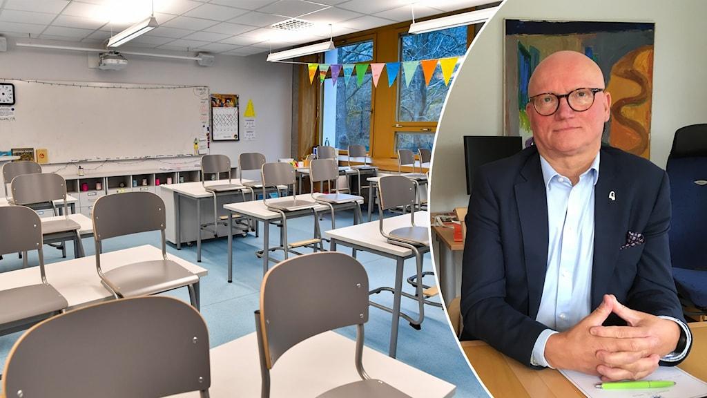 Tomas Hartikainen på Gävle kommun och en tom skolsal
