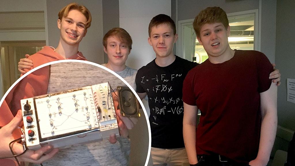 Salomon Jonsevall, Emil Nordin, David Björk,  och Johan Persson i P4 Gävleborgs studio med en silvrig låda i händerna.