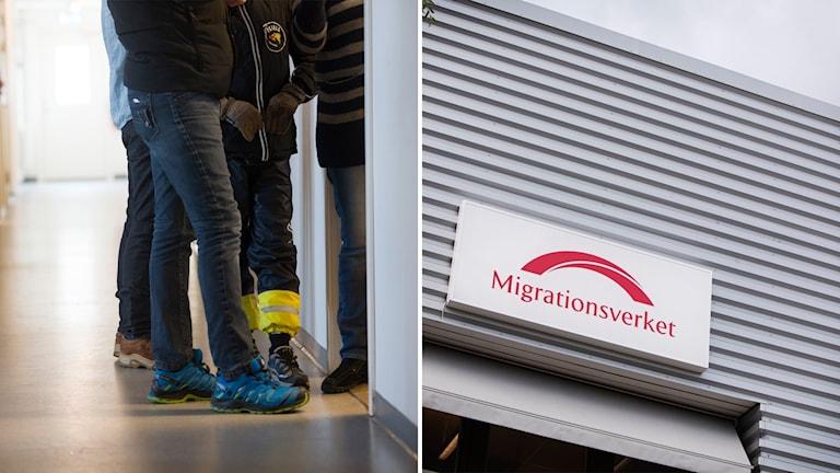 Vänster bild: En grupp personer står i en korridor. deras gympaskor och jeansklädda ben syns bara. De har svarta och blå skaljackor. På den högra bilden syns en skylt med Migrationsverkets logga mot en grå fasad.