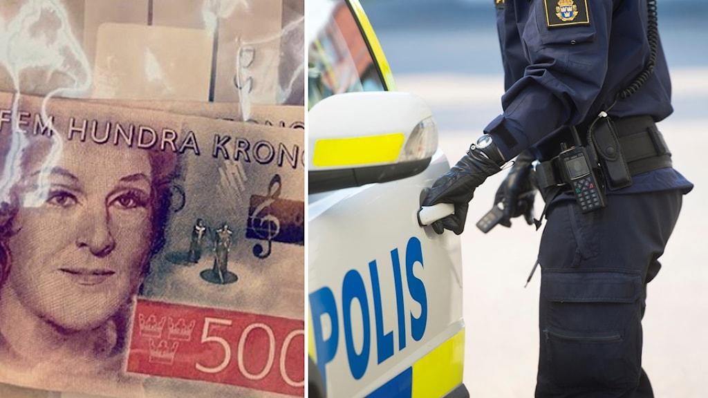 falska sedlar och polis vid polisbil