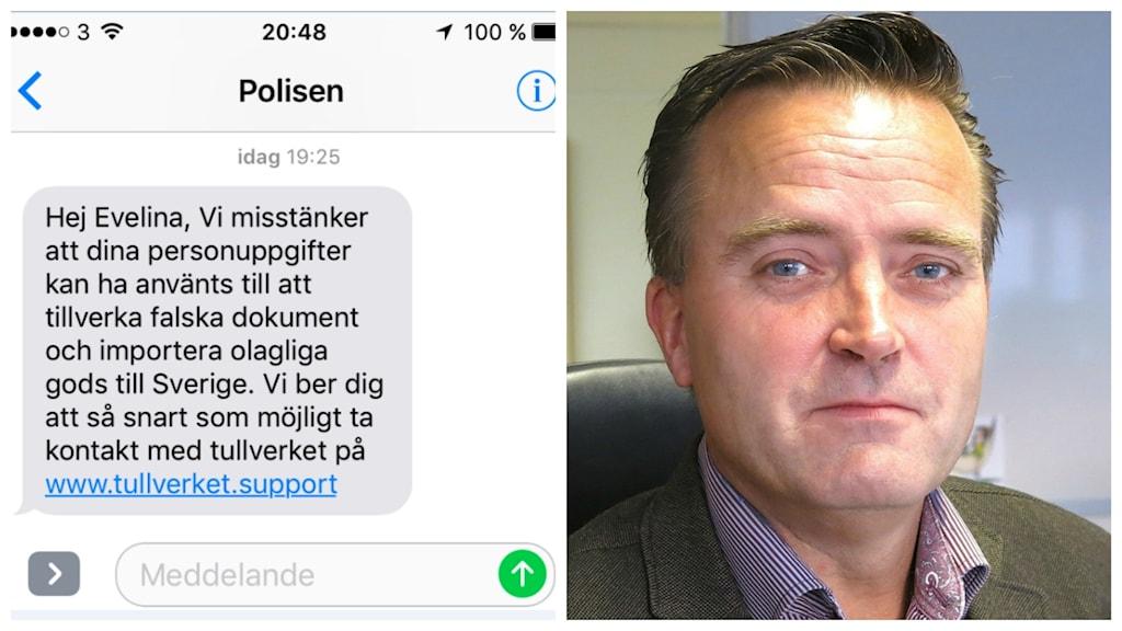 Kollage med bluffsmset och en bild på förundersökningsledare Jan Olsson.