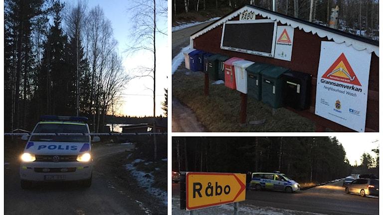 Kollage med polisbil och en skylt vid området där de två personerna hittades döda