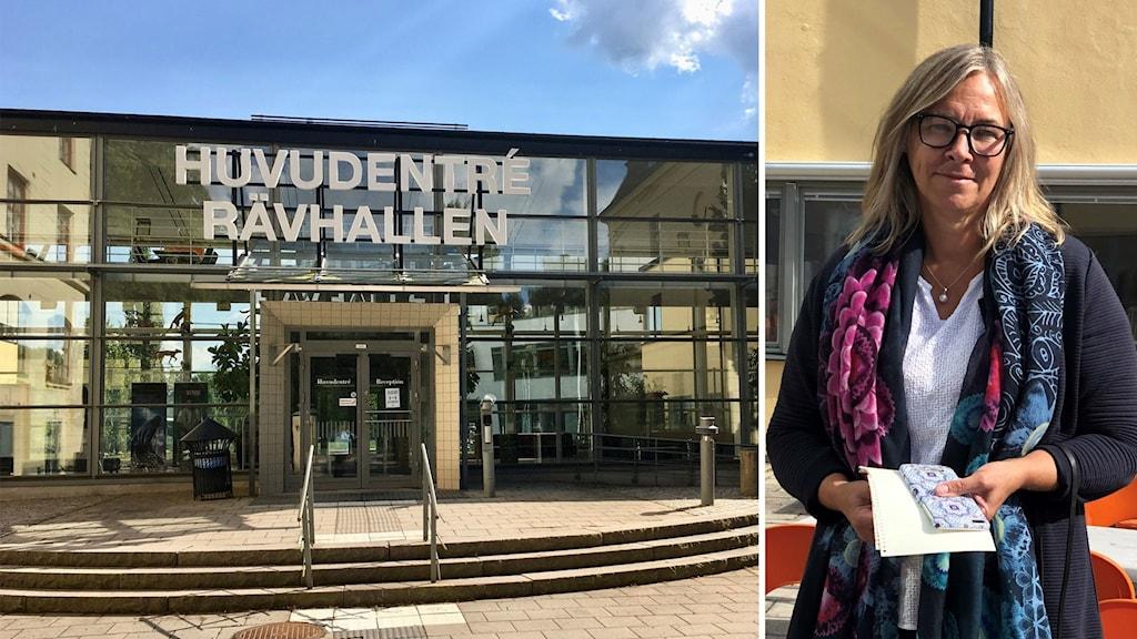En bild på Rävhallen på Högskolan i Gävle och en bild på Maria Strand.