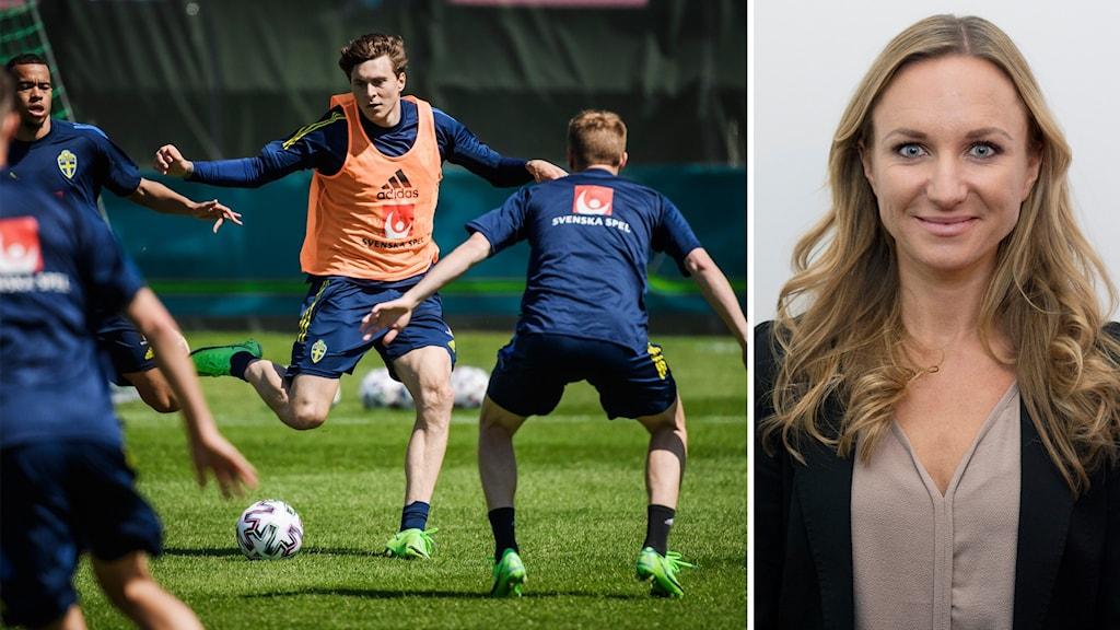 Fotbollsspelare och en kvinna