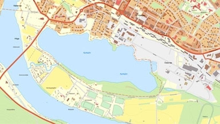 Den röda streckningen, Kyrksjönäsvägen föreslås bli ny genomfartsled i Ljusdal.