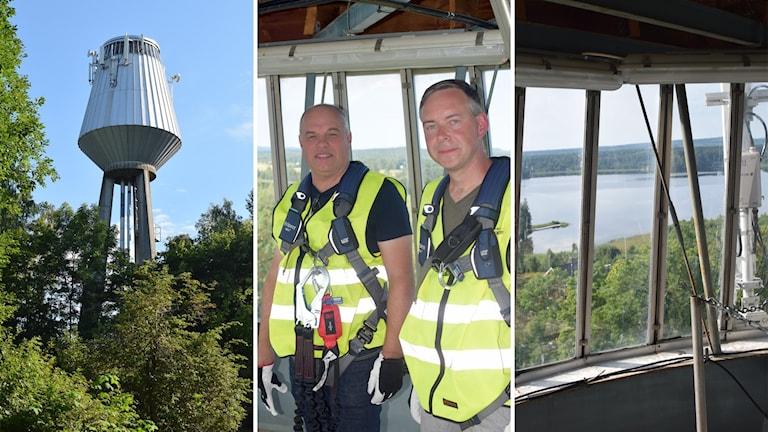 Det rymdraketliknande Hammarby vattentorn är byggt i aluminium i slutet av 1950-talet. Mikael Nord från Sandviken Energi och byggnadsantikvarien Martin Åhrén följde med upp och tittade på utsikten.