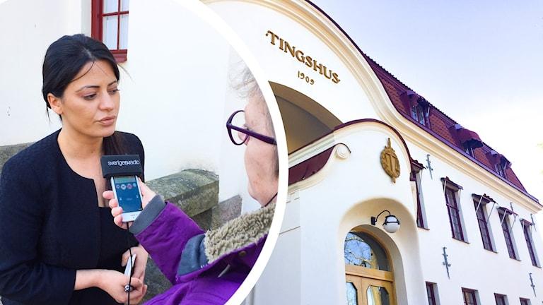 Evin Cetin intervjuas av P4 Gävleborgs reporter Agneta Sundberg framför tingshuset i Hudiksvall. Bilden är ett montage.