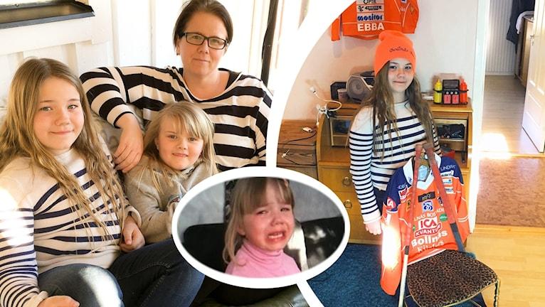 Ebba Nillsons familj till vänster och hon själv iklädd en orange Bollnäs-tröja med en stol hon smyckat med Bollnäs-färger och merch.