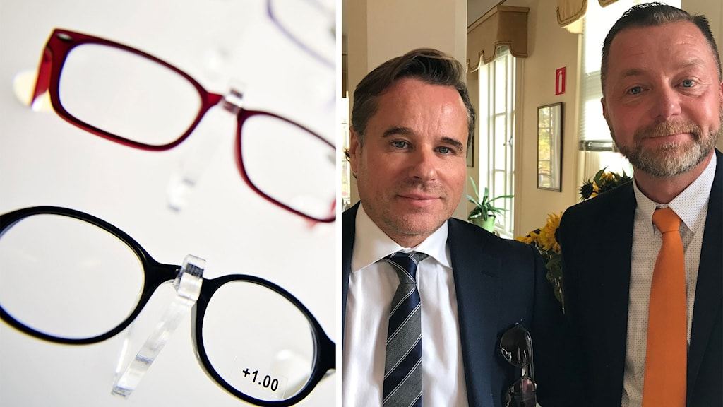 En bild på Synsams koncernchef Håkan Lundstedt och Magnus Jonsson (S), kommunalråd i Ockelbo.