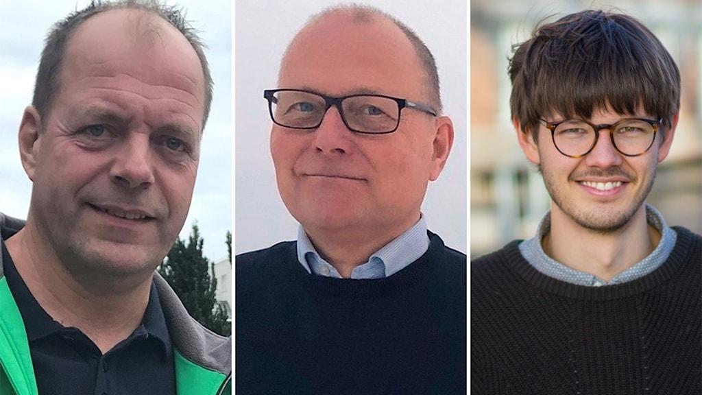 Tre bilder, John-Erik Jansson, Håkan Englund och David Ling tittar alla in i kameran.
