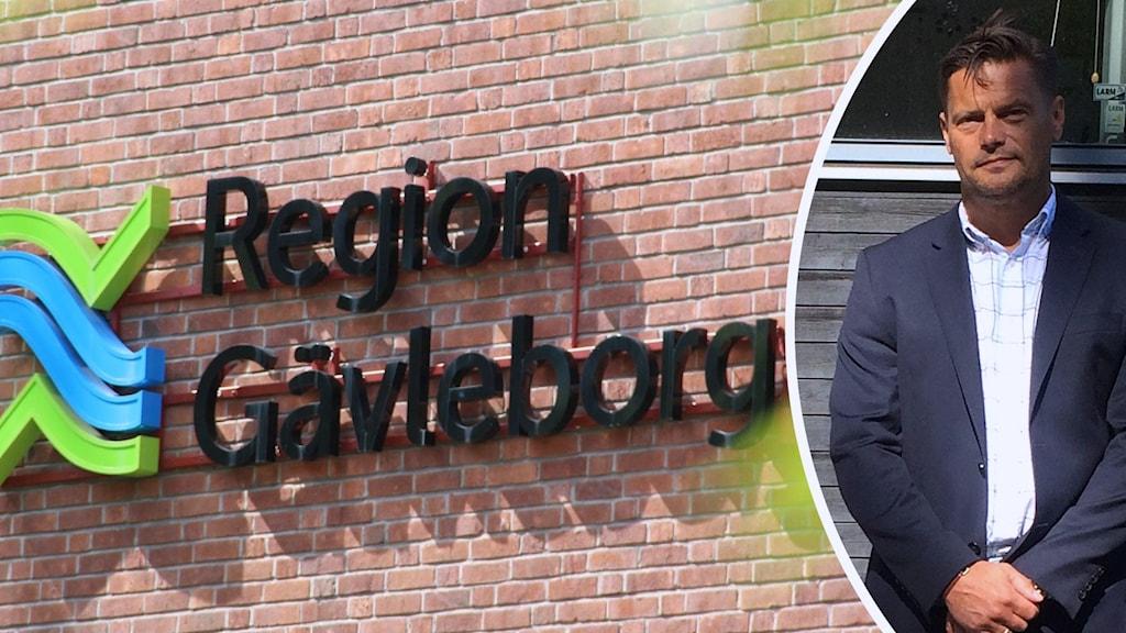 En bild på en Region Gävleborg-skylt på en tegelfasad och en bild på Ronny Stjernlöf i kavaj framför ett fönster.
