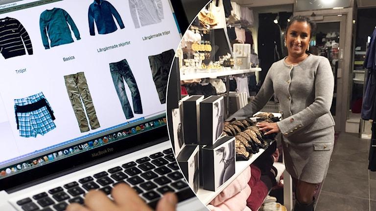 En bild på en person som beställer kläder på internet och butiksägaren Josefin i hennes underklädesbutik.