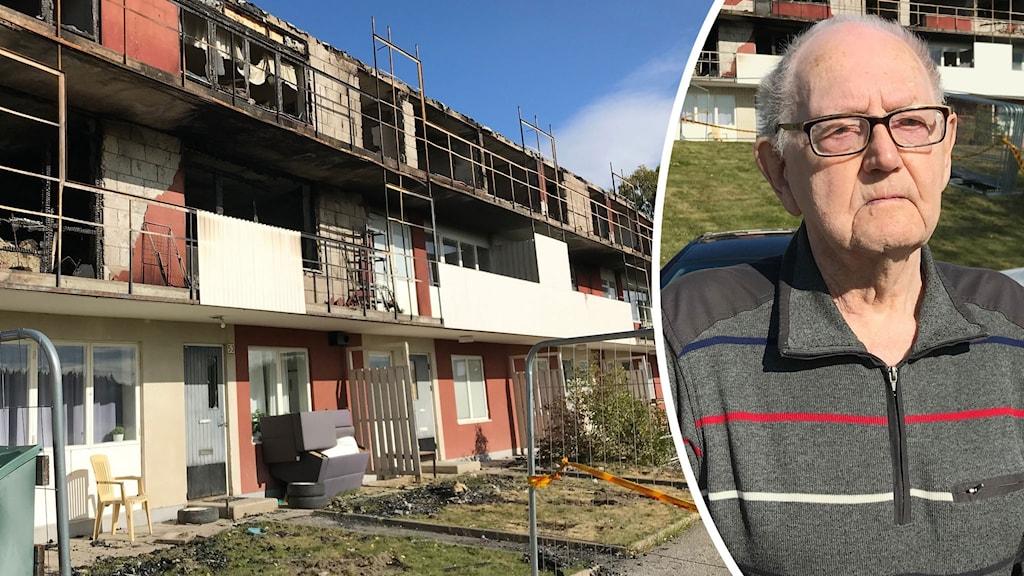En bild på det branddrabbade huset i Söderala och en bild på Karl Hedlund som står framför huset.
