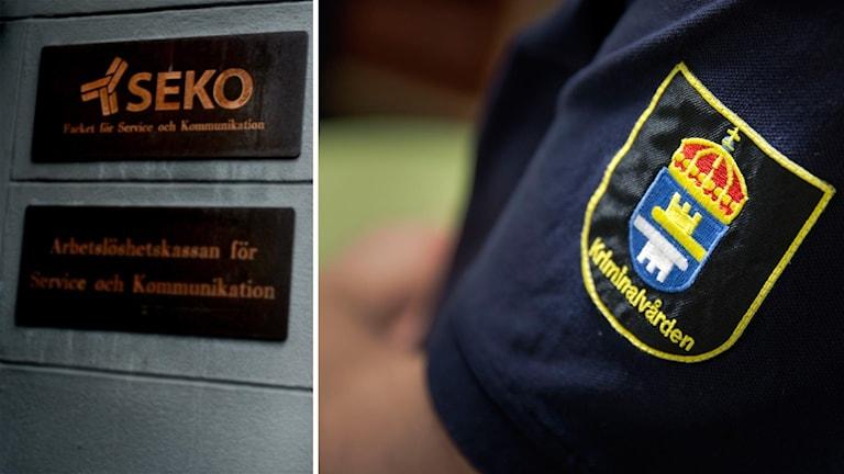 kriminalvården-logga och SEKO logga