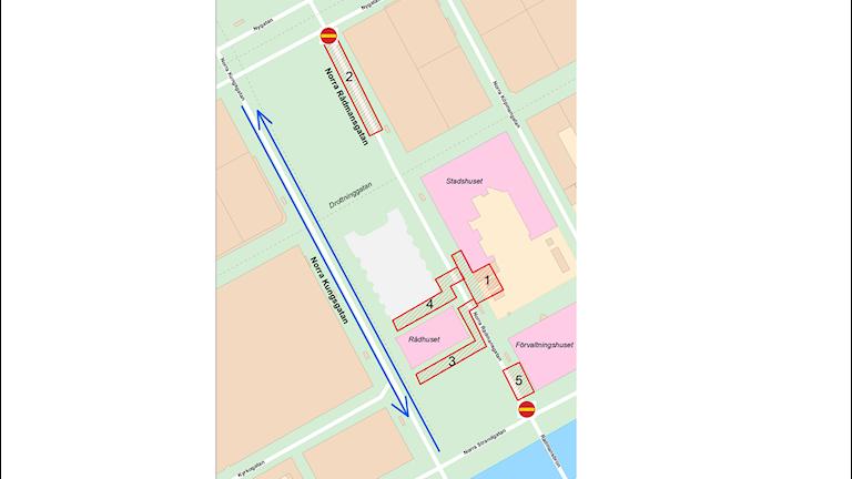 En karta från Gävle kommun föreställande bland annat Norra Rådmansgatan i centrala Gävle