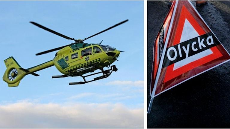 Ett kollage med en ambulanshelikopter och en olycksskylt