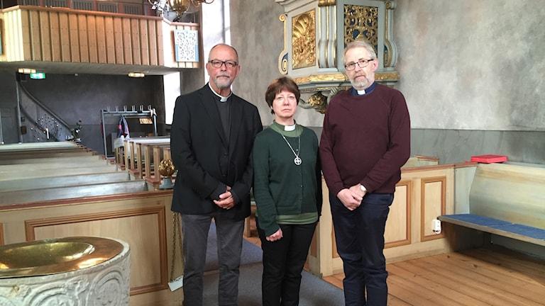 Pär Stenberg, kyrkoherde, Ann-Kristin Hellström, diakon, och Mats Sandström, komminister.