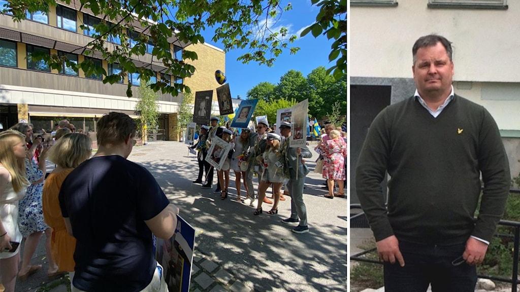Studentfirande utanför skola och en man framför en byggnad.