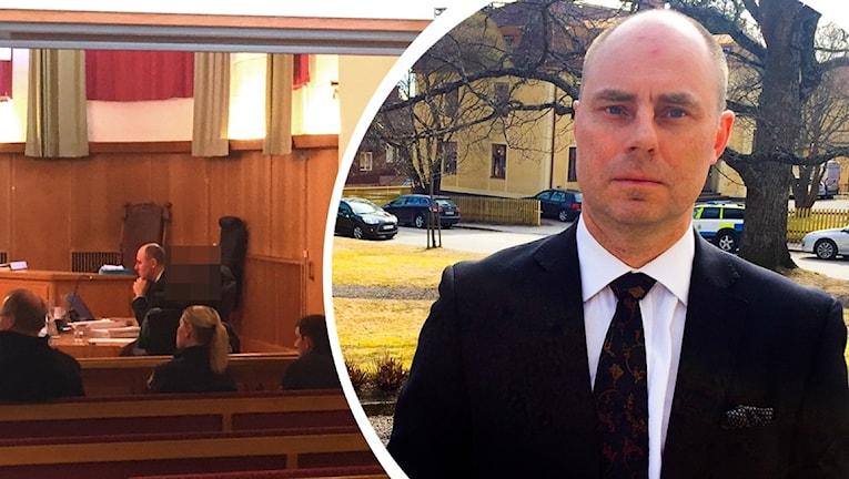 Försvarare Jan Nyman som försvarar 20-åringen som misstänks för dubbelmord i Råbo utanför Hudiksvall i december 2016. Till vänster en bild från rättssalen där en skymtar den misstänkte, vars bakhuvud är maskat.