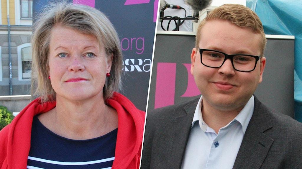 Två bilder, en på Ulla Andersson i en röd tröja och en på Viktor Wärnick i kavaj.