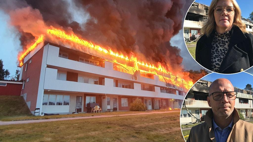 En bild på det brinnande huset i Söderala, en bild på Ann-Berit Botngård och en bild på Patrik Jakobsson.