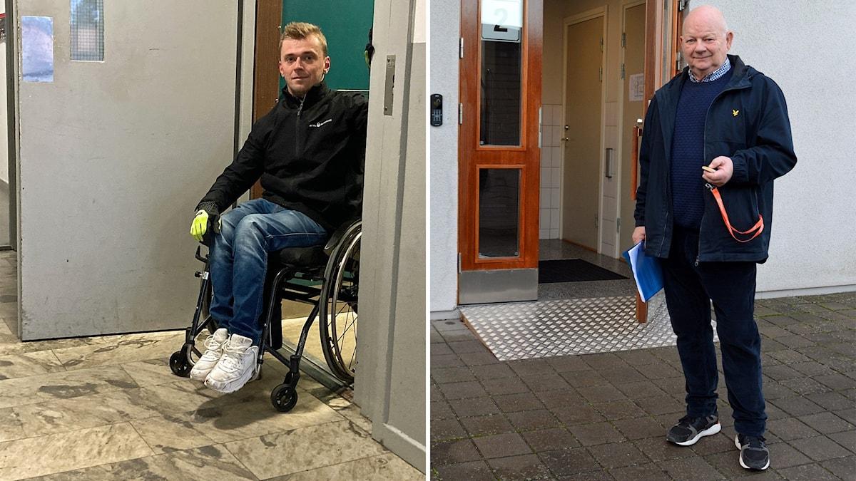 Till vänster 22-årige och rullstolsburne William Österberg Berglund i dörren till sin hiss som skulle behöva öppningsautomatik. Till höger Gävle samhällsbyggnadsnämnds vice ordförande Kjell Helling (L) som demonstrerar just en sådan dörröppningsautomatik i sin egen Bostadsrättsförening.